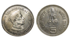 Roepies Vijf Muntstuk India Royalty-vrije Stock Foto's