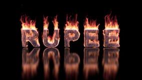 Roepiewoord het branden in vlammen op de glanzende oppervlakte, financiële 3D achtergrond stock footage