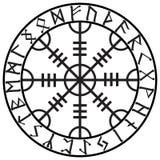 Roer van ontzag, roer van verschrikking, Ijslandse magische staven met Skandinavische runen, Aegishjalmur stock illustratie