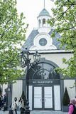 Roermond Κάτω Χώρες 07 05 2017 λογότυπο του καταστήματος Burberry στην περιοχή αγορών εξόδου σχεδιαστών MC Άρθουρ Glen Στοκ Φωτογραφία