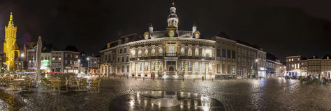 Roermond historic city netherlands high definition panorama at night Stock Photography
