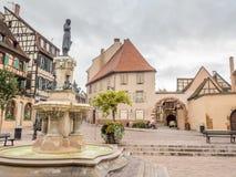 Roesselmann喷泉在科尔马,法国 免版税图库摄影