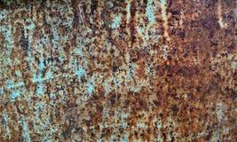 Roest en grunge de bruine en blauwe textuur van de metaaloppervlakte Stock Foto