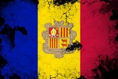 Roestig Andorra en grunge vlagillustratie royalty-vrije illustratie
