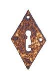 Roestig diamantvormig geïsoleerd sleutelgat Royalty-vrije Stock Fotografie