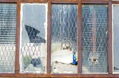 Roestig en gebroken venster Royalty-vrije Stock Afbeelding