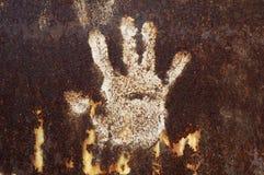 Roestig metaal met handprint Royalty-vrije Stock Afbeelding