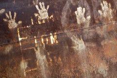 Roestig metaal met handprint Stock Foto