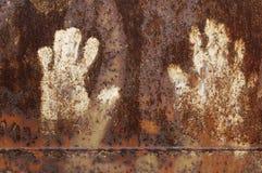 Roestig metaal met handprint Royalty-vrije Stock Foto