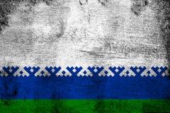 Roestig Nenets Autonoom District en grunge vlagillustratie stock illustratie