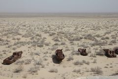 Roestige boten van het Aral Overzees Royalty-vrije Stock Foto's