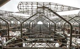 Roestige duga 3 van de radarfaciliteit in Tchernobyl Royalty-vrije Stock Foto