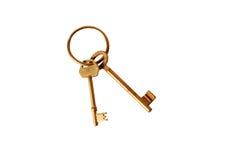 Roestige geïsoleerde sleutels Stock Fotografie