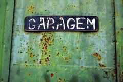 roestige groene garagedeur Stock Foto