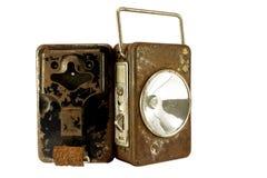 Roestige lampbatterijen Stock Afbeeldingen
