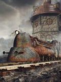 Roestige locomotief en toren stock illustratie