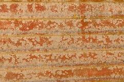 Roestige metaaloppervlakte met groeven en uitbarstingsverf Royalty-vrije Stock Foto's