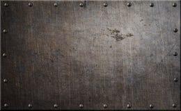Roestige metaalplaat met klinknagels 3d illustratie als achtergrond Royalty-vrije Stock Afbeelding