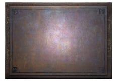 Roestige metaalplaat op houten kader stock afbeeldingen