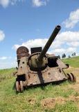 Roestige oorlog en vreedzame hemel Stock Foto's
