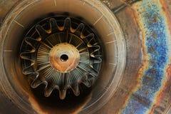 Roestige oude straalmotorclose-up als achtergrond stock afbeeldingen