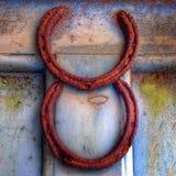 Roestige paardschoenen Royalty-vrije Stock Foto's