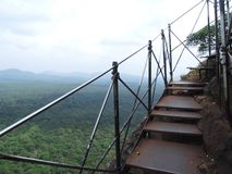 Roestige trap op Sigiriya-Rots Stock Afbeelding