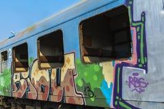 Roestige treinwagens Royalty-vrije Stock Foto's
