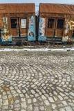 Roestige treinwagens Stock Afbeelding