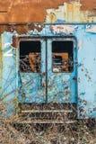 Roestige treinwagens Stock Foto