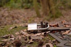 Roestvrij staalhangslot met aantal 330 door de herfstbladeren en mos dat wordt omringd stock fotografie