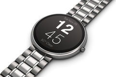 Roestvrij staalluxe smartwatch Royalty-vrije Stock Afbeeldingen