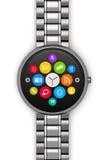 Roestvrij staalluxe smartwatch Royalty-vrije Stock Foto's