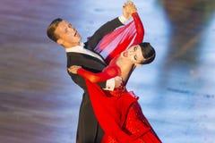 Rofessional舞蹈夫妇执行WDSF国际WR舞蹈杯的青年标准欧洲节目 免版税库存图片