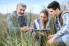 Rofessor with agronomy students outdoors. Teacher with students in agronomy looking at vegetation royalty free stock image
