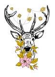Rogacz z kryształami i kwiatami Fotografia Royalty Free