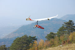 Rogallo wing hang glider stock photo  Image of start