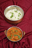 Rogan josh and rice from above Stock Photos