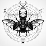 Rogata pluskwa okrąg mistyczny Ezoteryczny symbol, święta geometria royalty ilustracja