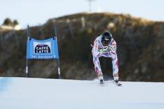 ROGER Brice i FIS alpina Ski World Cup - 3rd MÄNS SUPER-G Arkivbild