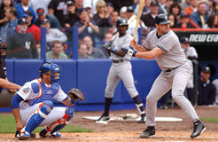 Roger Clemens and Mike Piazza, June 15, 2002. New York pitcher Roger Clemens faces Shawn Estes. This is Clemens first at bat against the Mets since the run in stock photos