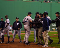 Roger Clemens restrained during Game 3 of 2003 ALCS. Stock Image