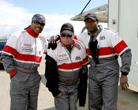 Roger Cross, William Shatner, Xzibit. Xzibit William Shatner Roger Cross Toyota Grand Prix Pro/Celeb Race Training @ Willow Springs Racetrack Lancaster, CA March Royalty Free Stock Photo