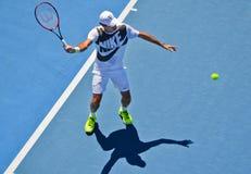 Roger Federer ćwiczyć Obrazy Royalty Free