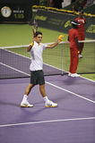 Roger Federer in action. Roger Federer celebrating a win against Viktor Troicki during the January 2011 ATP Mens Open in Doha, Qatar Royalty Free Stock Photography