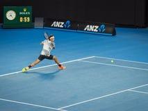 Roger Federer at the Australian Open 2017 Tennis Tournament. Roger Federer in a tennis match at the 2017 Australian Open Tennis Grand Slam Royalty Free Stock Images