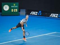 Roger Federer at the Australian Open 2017 Tennis Tournament. Roger Federer in a tennis match at the 2017 Australian Open Tennis Grand Slam Royalty Free Stock Photo