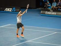 Roger Federer at the Australian Open 2017 Tennis Tournament. Roger Federer winning a tennis match at the 2017 Australian Open Tennis Grand Slam Stock Photos