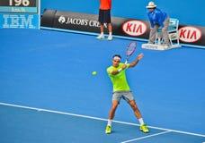 Roger Federer bawić się w australianie open Zdjęcia Stock