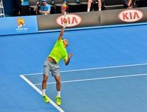 Roger Federer bawić się w australianie open Zdjęcie Stock